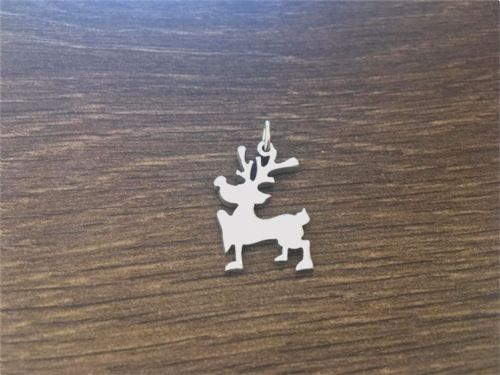Reindeer Christmas xmas charm solid sterling silver Handmade in the Uk